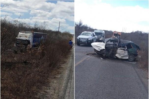 Acidente entre carro e caminhão da banda Cavaleiros do Forró deixa um morto