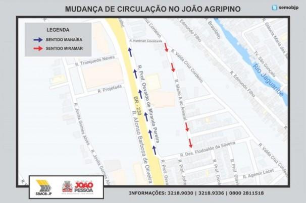 Semob altera trânsito no bairro João Agripino, em João Pessoa